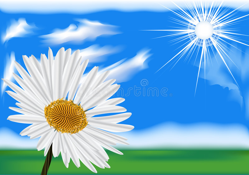 Download Bright Sky With The Sun And Cl Stock Illustration - Image: 5186630