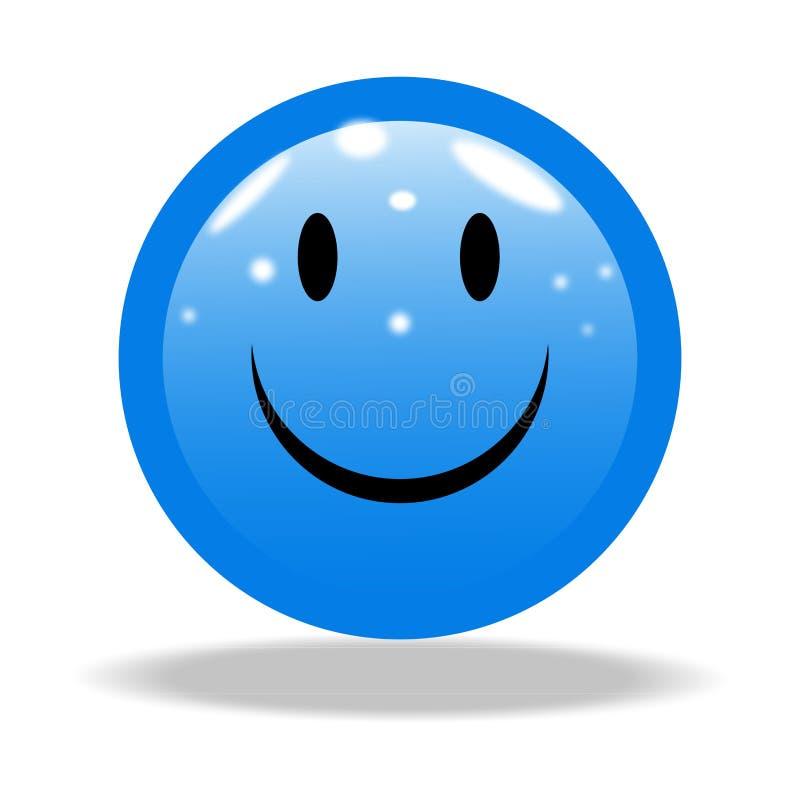 Bright Smile blue Emoji with white background. vector illustration