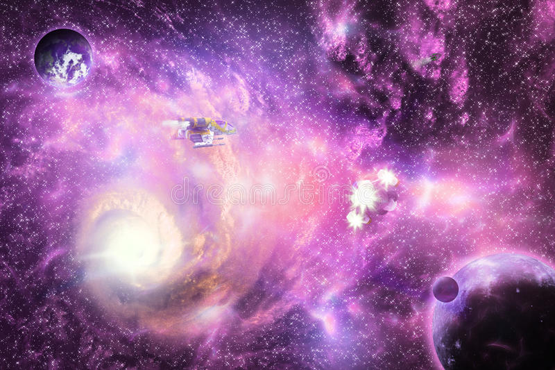 Bright space galaxy stock image