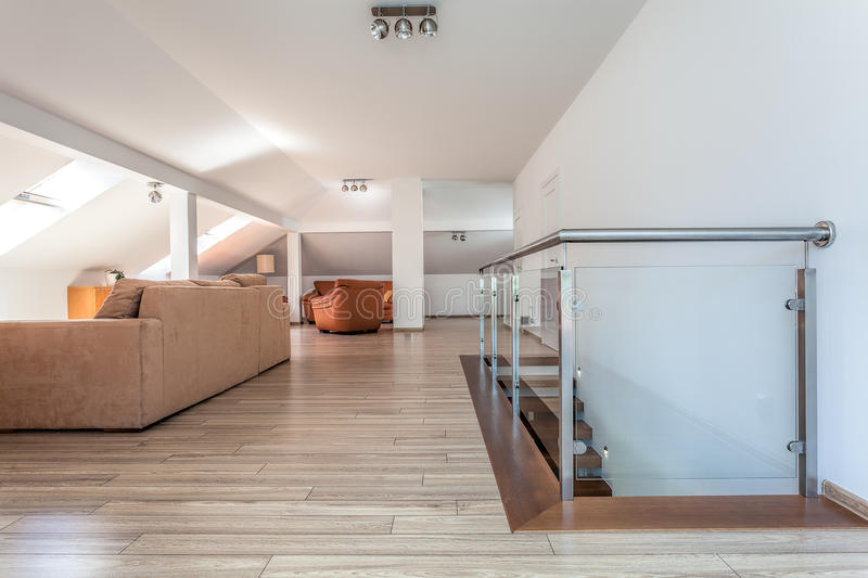 Bright space - living room upstairs royalty free stock photography