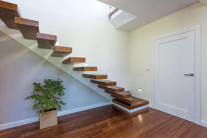 Bright space - staircase. Bright space - an elegant modern staircase stock photo