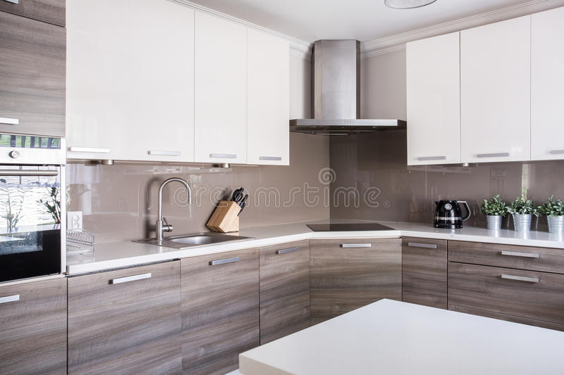 Bright spacious kitchen royalty free stock photos