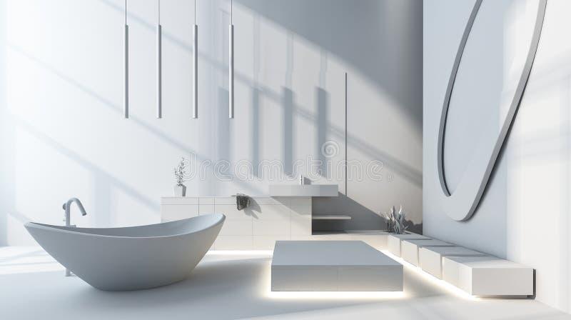 Bright spacious modern bathroom with bathtub stock illustration