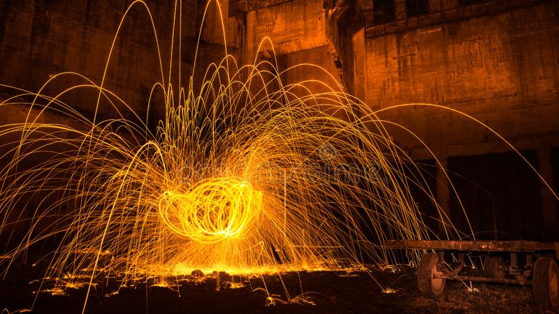 Bright sparks long exposure royalty free stock images