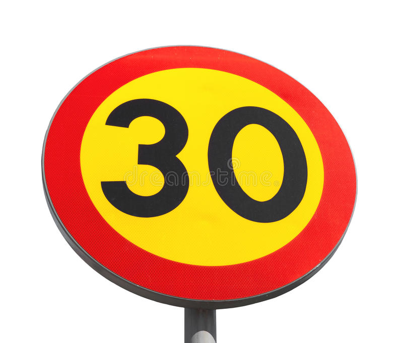 Bright speed limit road sign isolated stock photos