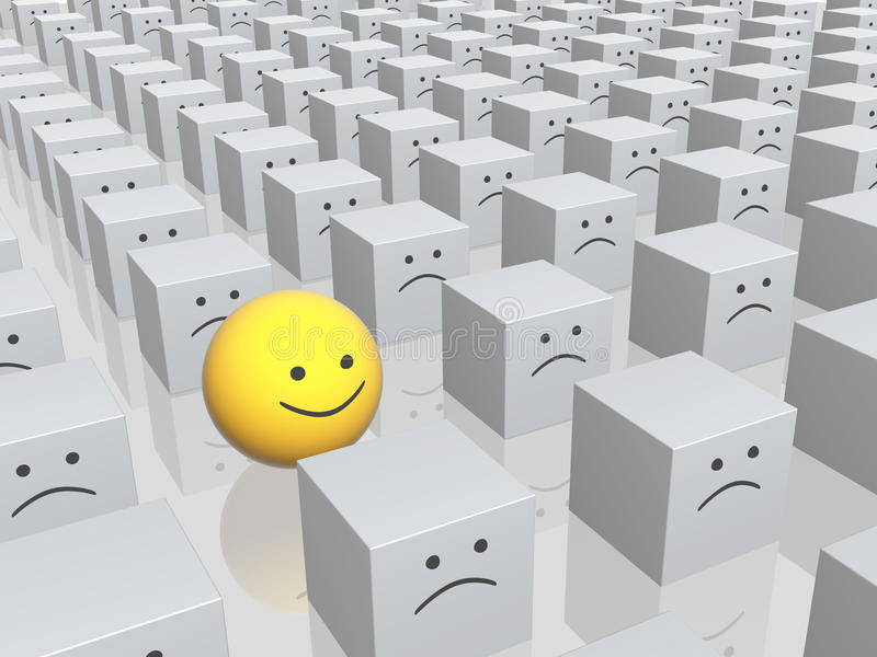 Bright Sphere With Smile In Row Of Grey Boxes Stock Images