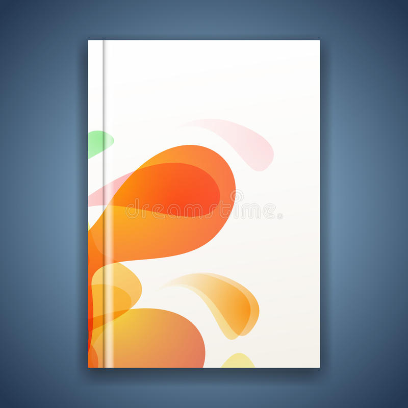 Bright splatter energetic abstract folder cover. With color ink blots in orange. Vector illustration vector illustration