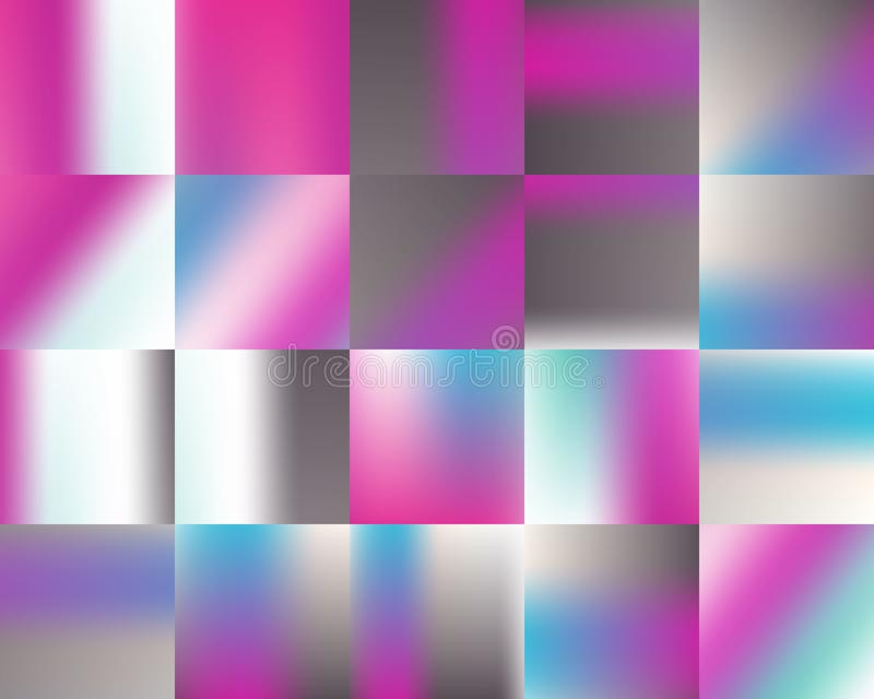 Bright spotted striped magenta blue white gray rainbow gradient background set. stock illustration
