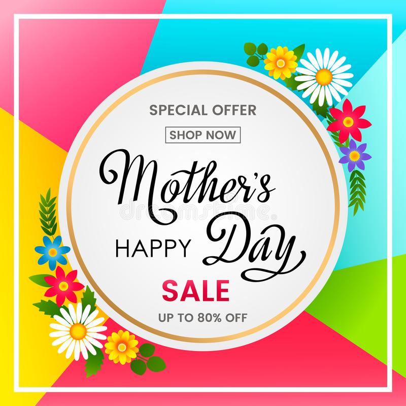 Bright spring poster sale gifts for mother`s day. vector royalty free illustration