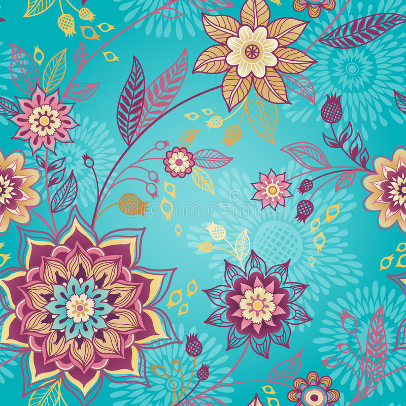 Free Bright Spring Seamless Pattern With Flowers. Stock Image - 41648091