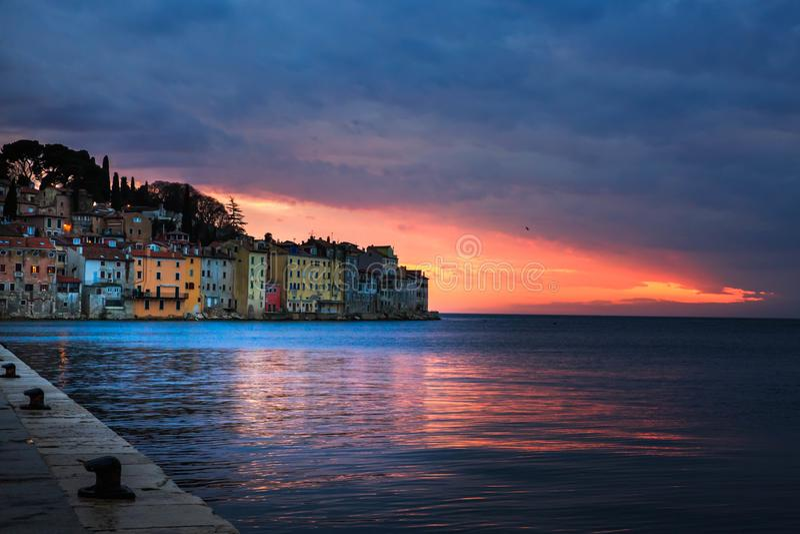 Bright sunset in spectacular romantic old town of Rovinj, Istrian Peninsula, Croatia, Europe. Bright spring sunset in spectacular romantic old town of Rovinj royalty free stock photo