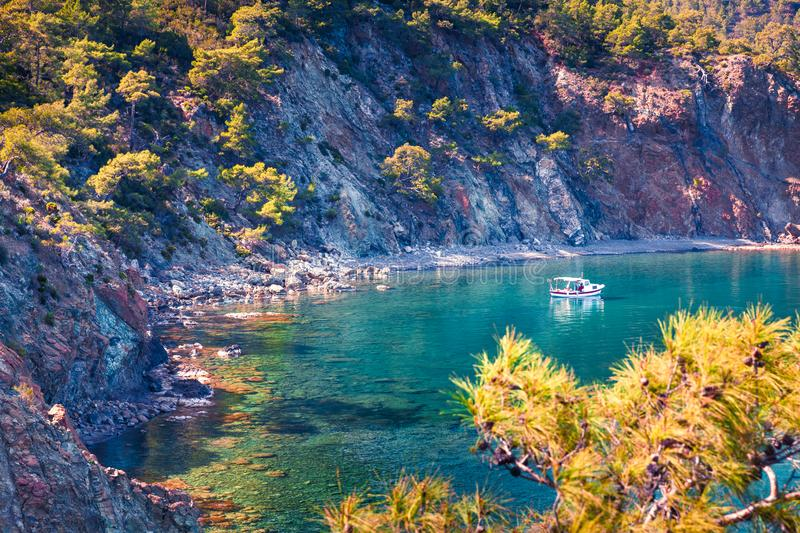 Bright spring view of a small azure bay near the Tekirova village royalty free stock images
