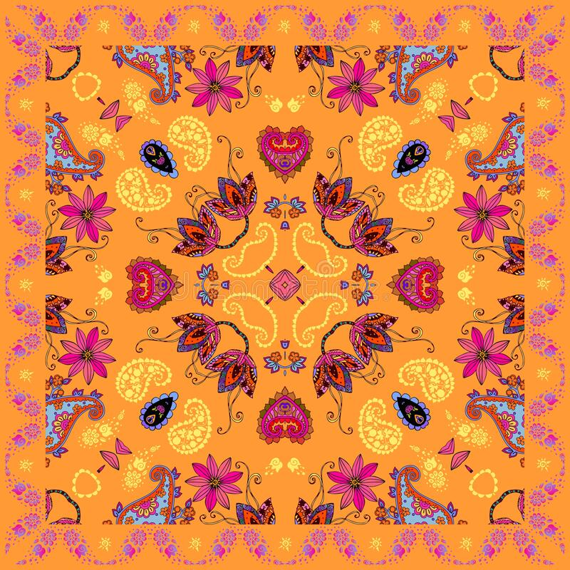 Bright square bandana print in ethnic style with colorful floral and paisley ornament. Summer design vector illustration