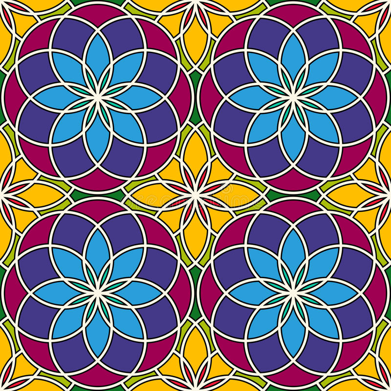 Bright stained glass background. Colorful kaleidoscope seamless pattern with decorative round ornaments. Floral motif. stock illustration