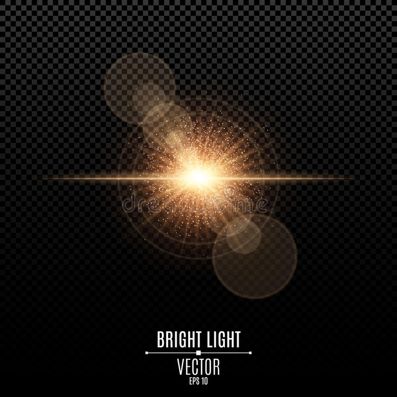 Bright star of a golden color. Orange flash of light. Abstract golden lights and rays of light. Camera effect. Magical golden dust. Glare bokeh. Vector royalty free illustration