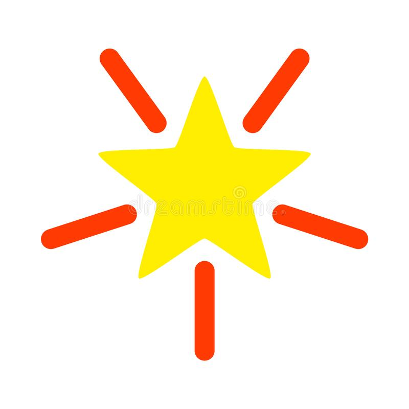 Bright Star Raster Icon Flat Illustration royalty free illustration