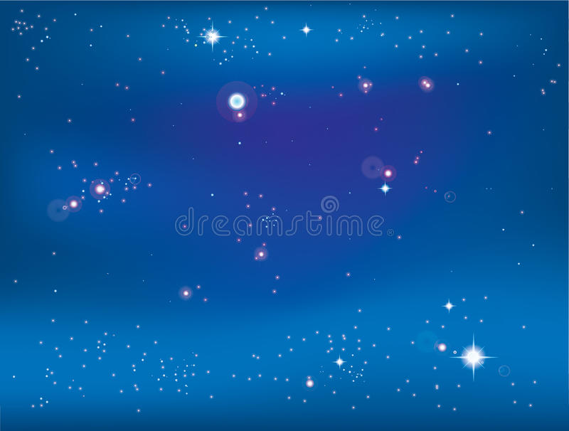 Bright stars. Illustration of a bright stars in night sky with different brilliance stock illustration