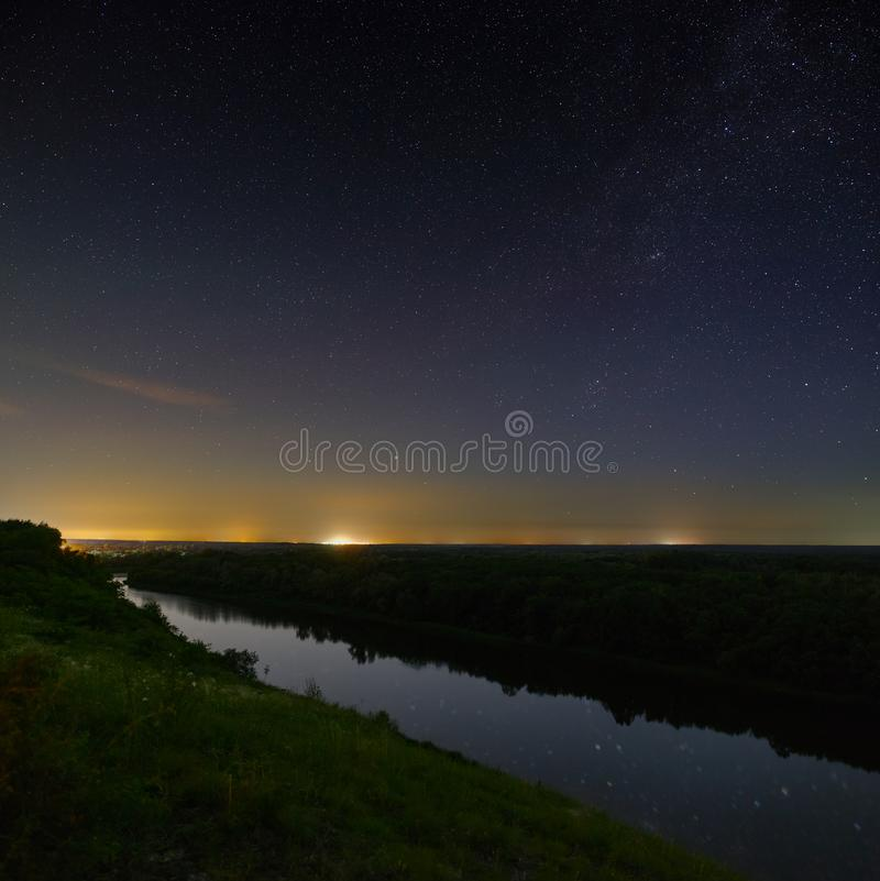Bright stars in the night sky before dawn.  stock photos
