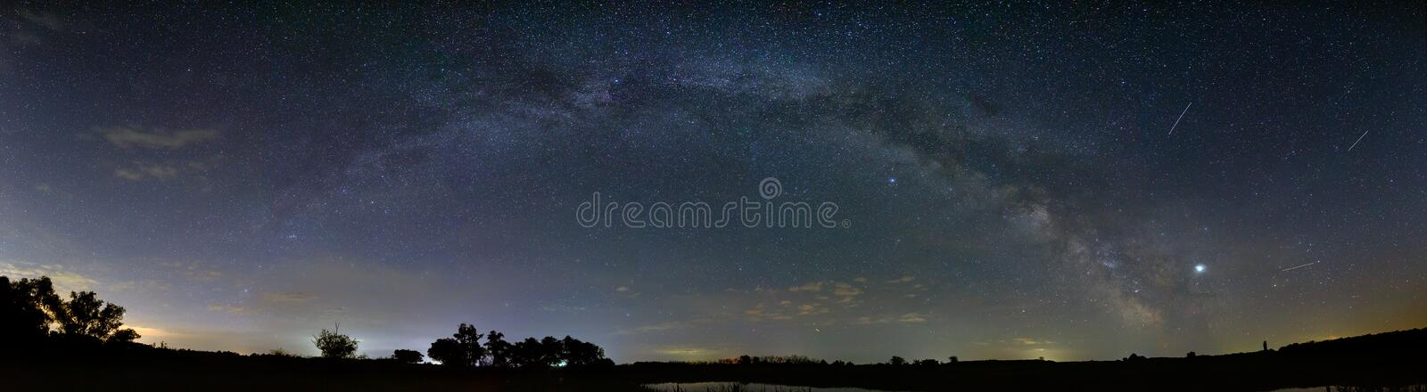 Bright stars in the night sky. Panoramic view of the arch of the Milky Way. Outer space photographed with long exposure.  stock image