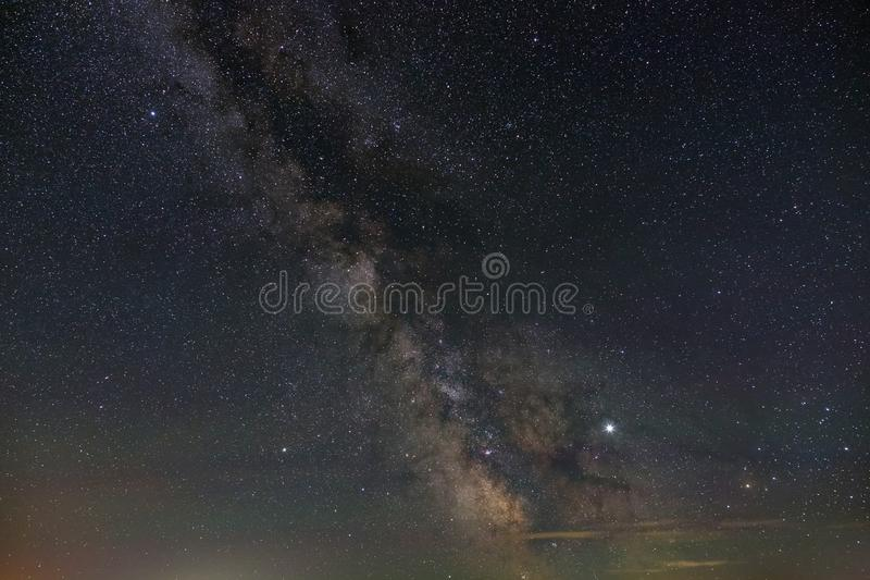 Bright stars of the night sky. View of the Milky Way and open space. Astrophotography with a long exposure stock images