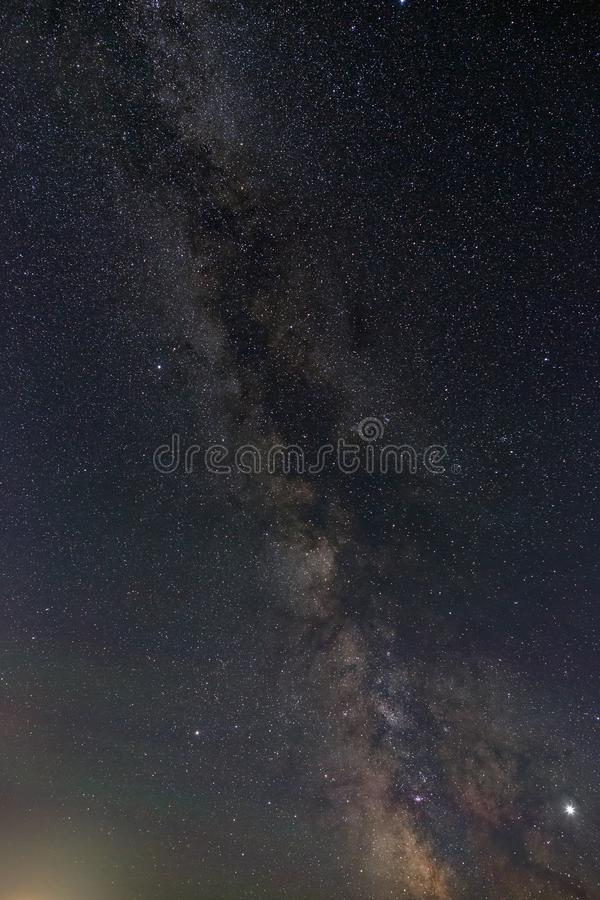 Bright stars of the night sky. View of the Milky Way and open space. Astrophotography with a long exposure.  stock photography