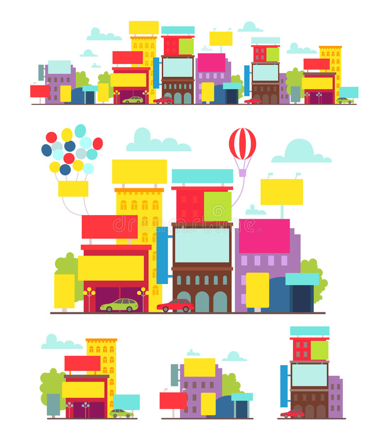 Bright street with posters billboards and different advertising royalty free illustration