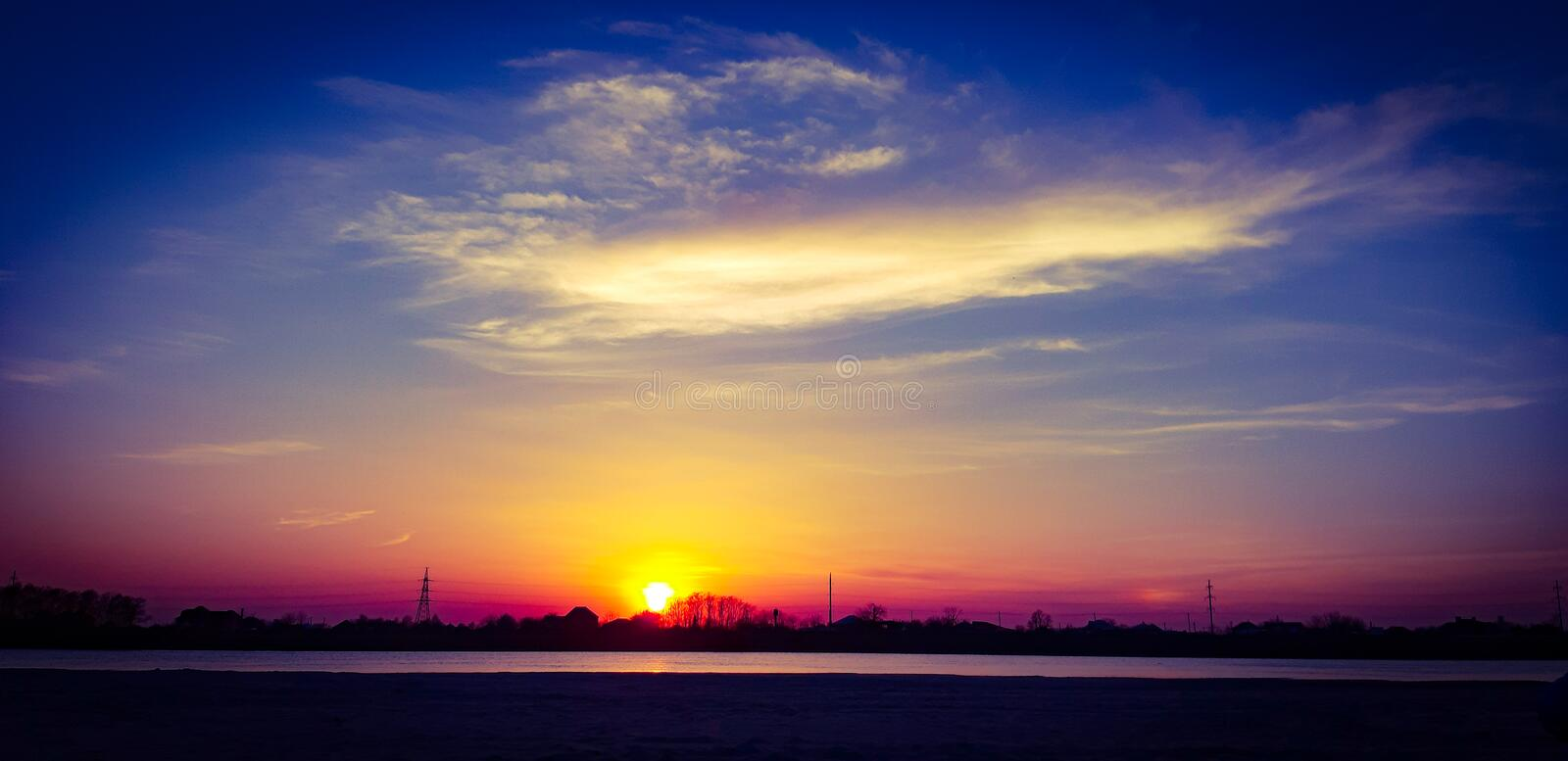 Bright stunning sunset on the Kuban river! royalty free stock images