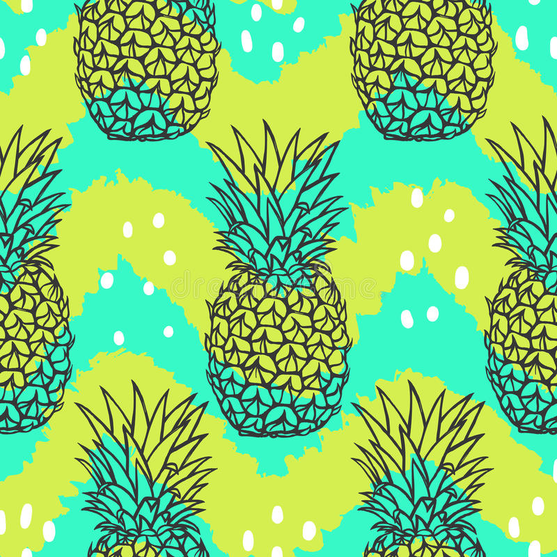 Bright stylish fruit pattern. Hand drawn pineapple. Seamless background. Vector illustration royalty free illustration