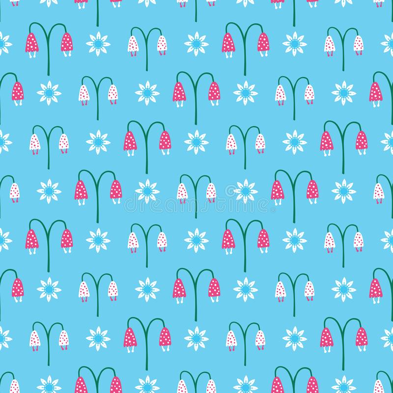 Bright summer bellflower bloom seamless pattern. Stylized retro floral all over print. royalty free illustration