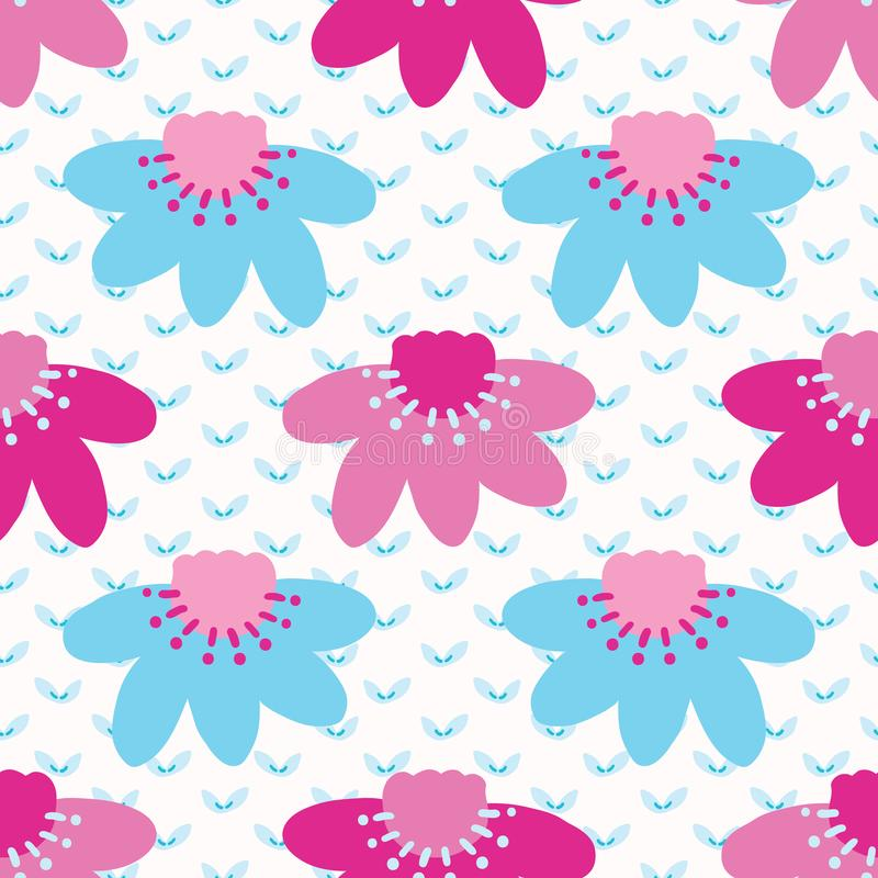 Bright summer daisy flower bloom seamless pattern. Stylized retro floral all over print. Pretty 1950s blue pink feminine fashion royalty free illustration