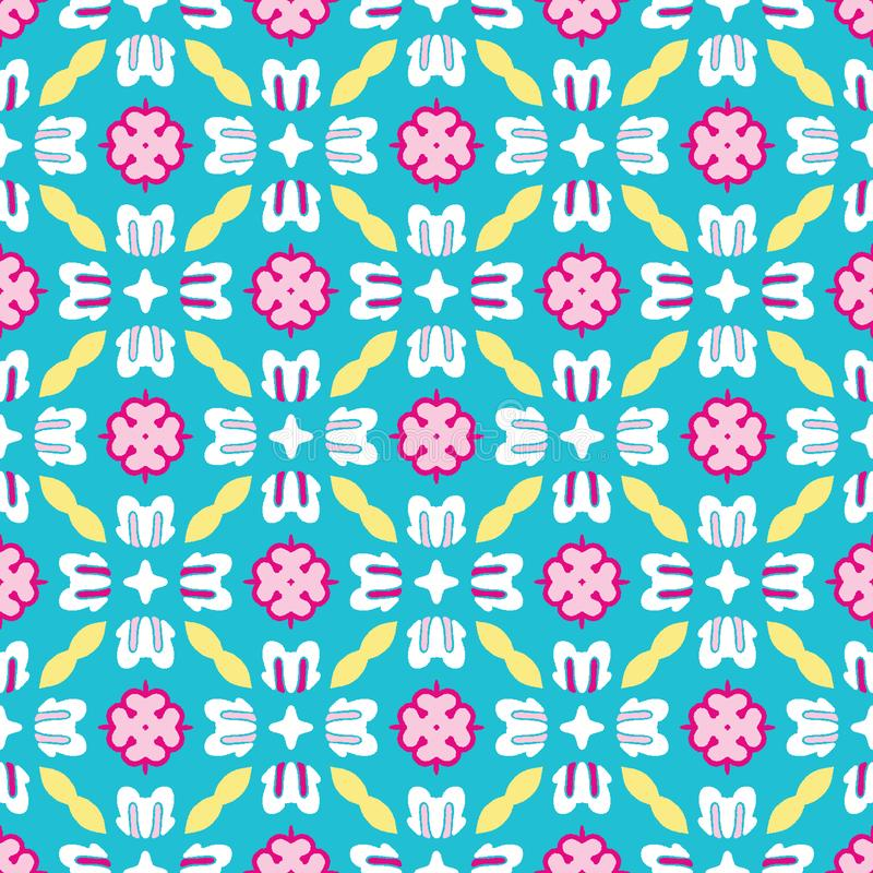 Bright summer daisy flower bloom seamless vectpr pattern. Stylized geometric floral all over print. Pretty 1950s retro feminine stock photography