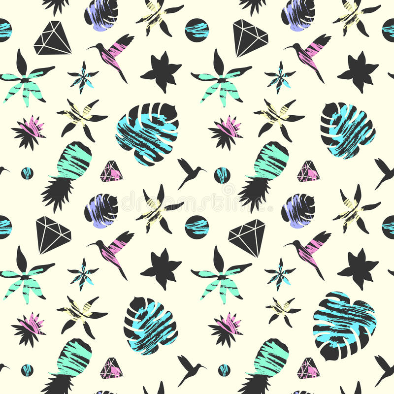 Bright summer fashion seamless pattern with tropical flora and birds in simple flat style. Vector illustration royalty free illustration