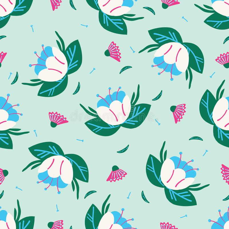 Bright summer flower bloom seamless pattern. Stylized retro floral all over print. royalty free illustration