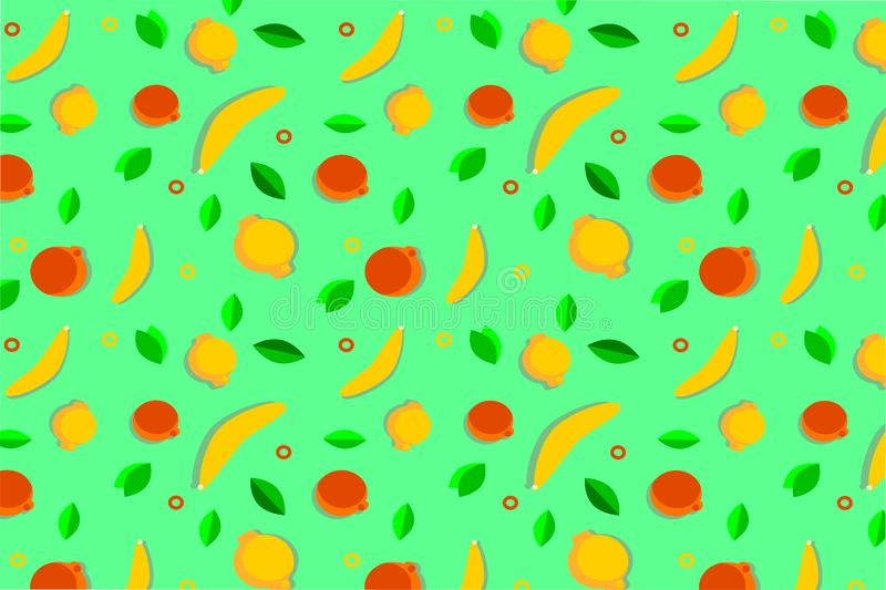 Bright summer fruit pattern. oranges lemons bananas on a bright green background. Baby cloth. postcard design vector illustration