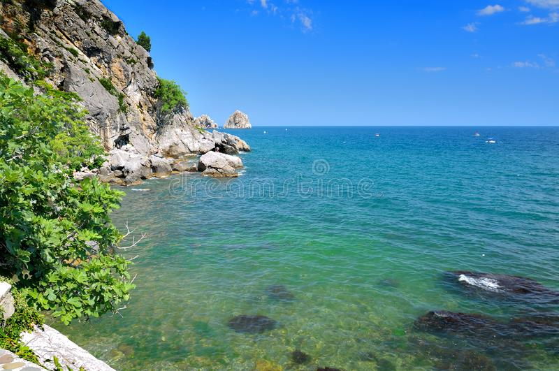 Bright summer landscape overlooking the rocky coast of the Black Sea in Crimea, Russia royalty free stock images