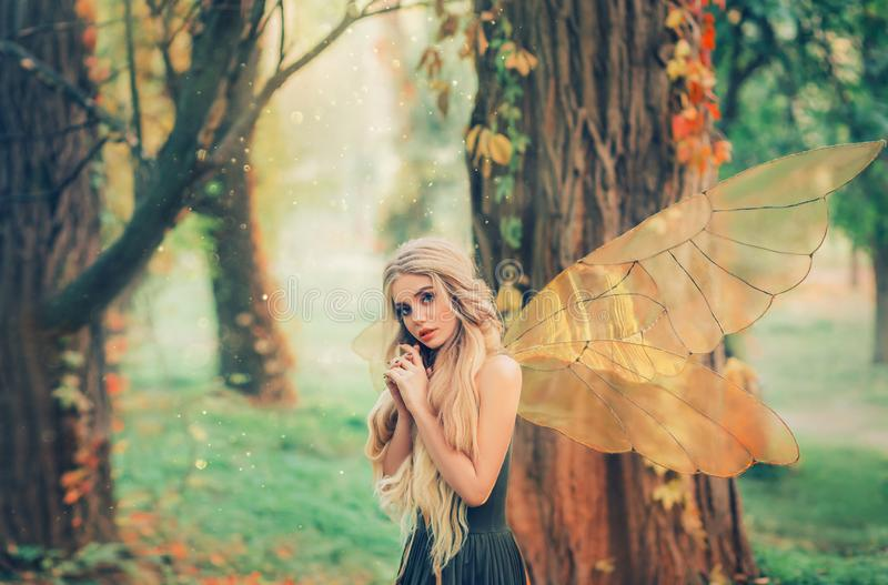 Bright summer photo with shining rays of sun, mysterious forest fairy fell in love with prince, girl with puppet face stock photos