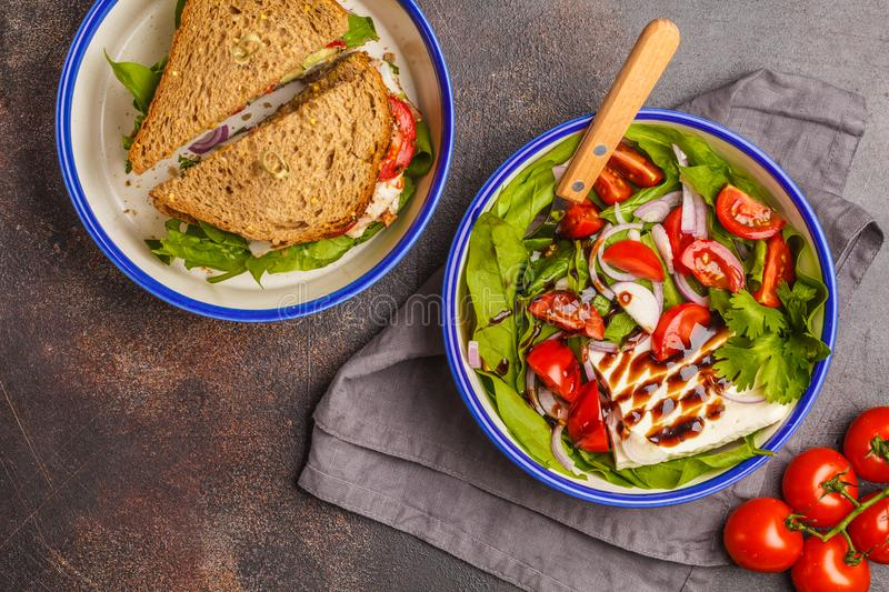 Bright summer salad with tomatoes, onions, balsamic and goat che royalty free stock photography