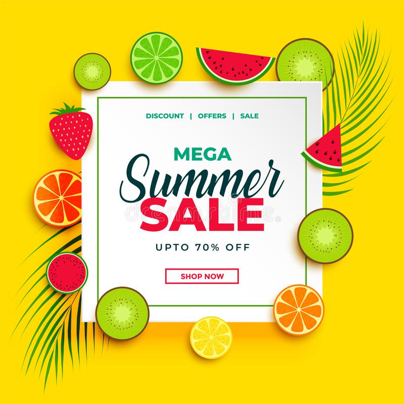 Bright summer sale banner with fruits background vector illustration