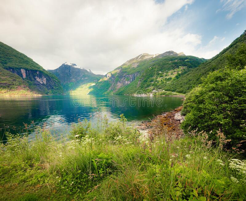 Bright summer scene of Sunnylvsfjorden fjord. Colorful morning view of western Norway, Europe. Traveling concept background. stock image