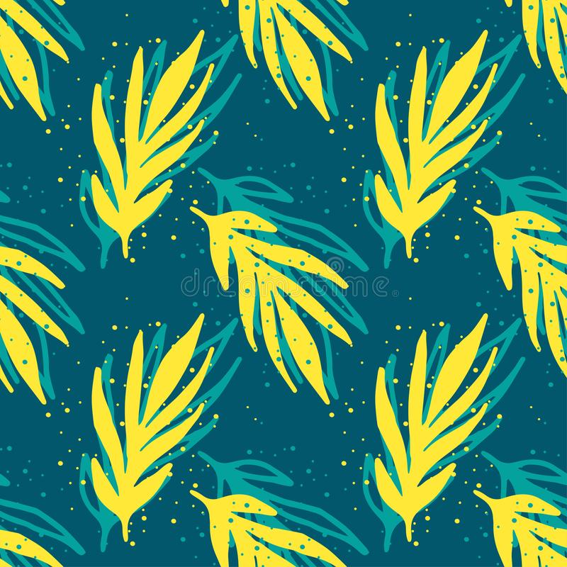 Bright summer seamless pattern of painted yellow branches with splashes of paint on a green-blue background stock illustration