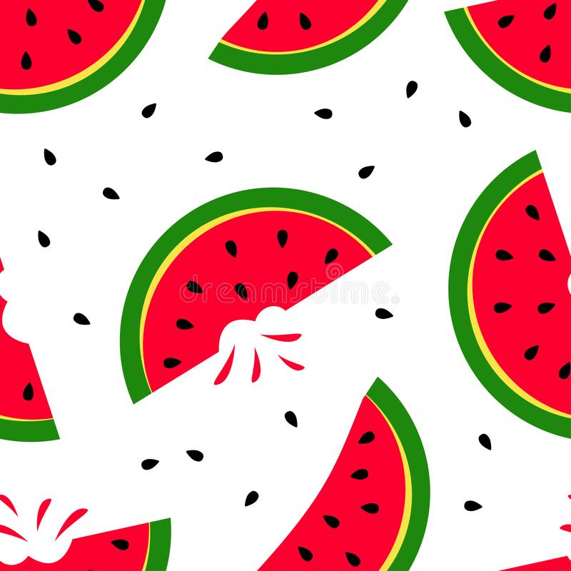 Bright summer seamless pattern with slice watermelon isolated on white background. Vector. Illustration stock illustration