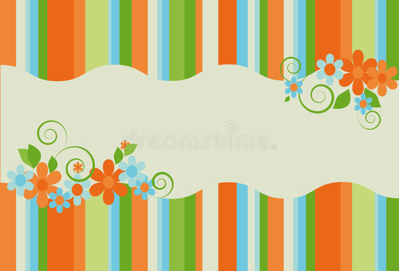 Download Bright Summer Striped Background With Flowers Stock Vector - Illustration of nature, daisy: 14576485