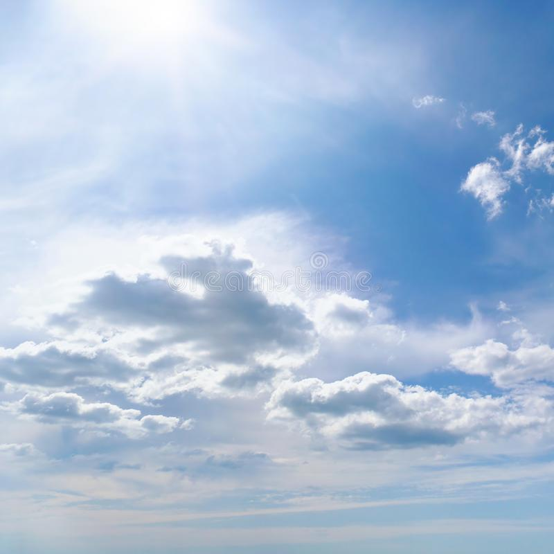 Bright summer sun on blue sky royalty free stock images