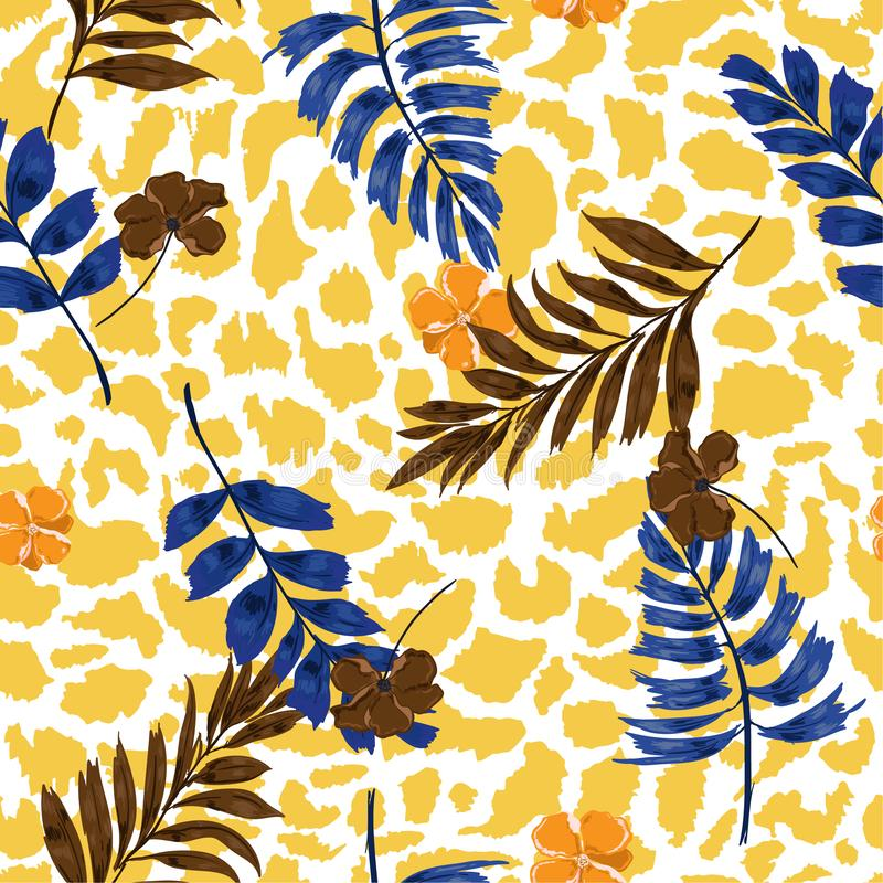 Bright summer Tropical summer floral safari leaves on exotic animal skin leopard prints ,hand drawn style background. stock illustration