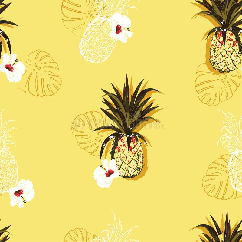 Bright summer Vector seamless pattern with colorful pineapples and hibiscus flowers mixed with line ahnd drawn style design for. Fashion, fabric ,wallpaper and royalty free illustration