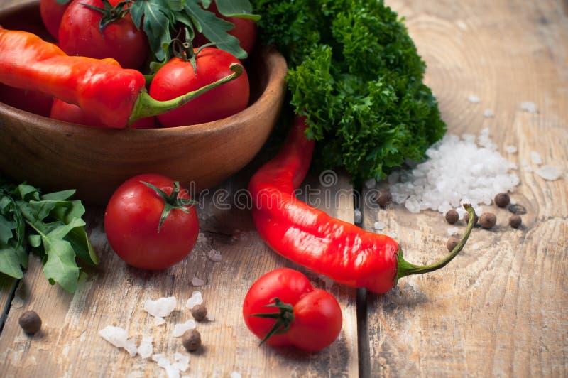 Bright summer vegetables stock image