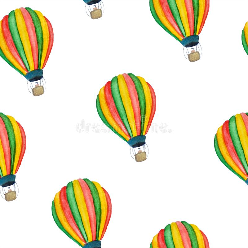 Bright summer watercolor pattern of retro balloons royalty free illustration