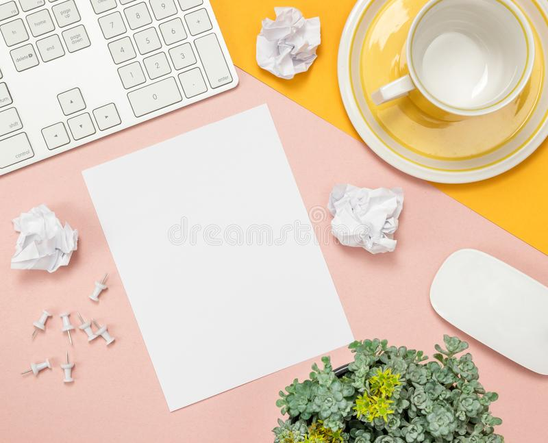 Bright summer workspace with blank sheet of paper royalty free stock image