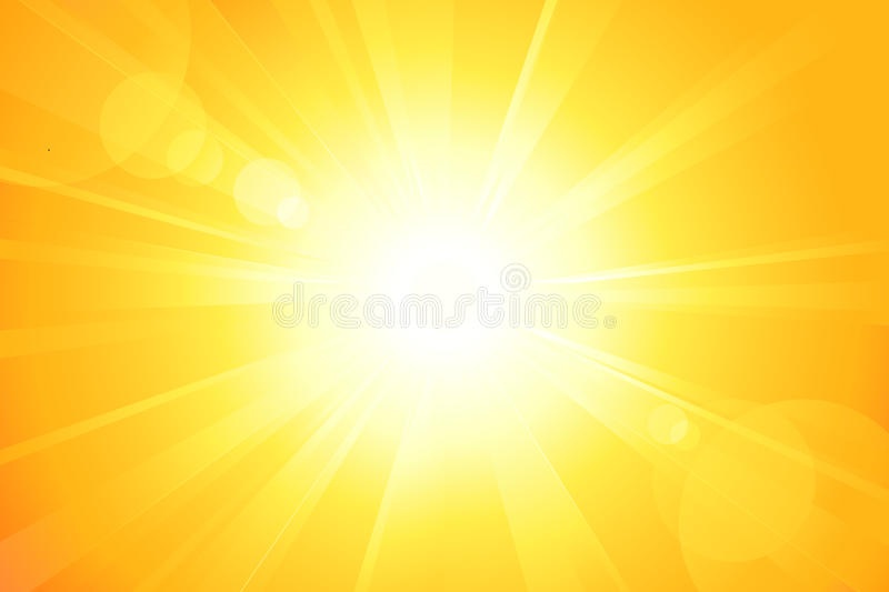 Bright sun with lens flare royalty free illustration
