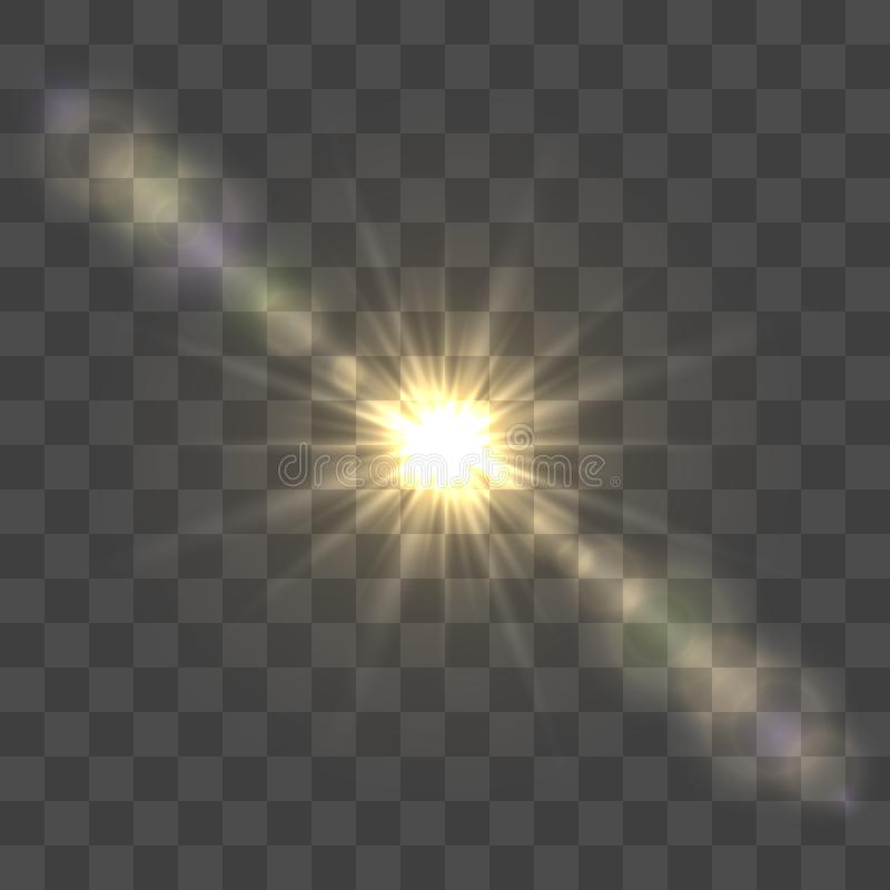 Bright sun lens flare royalty free illustration